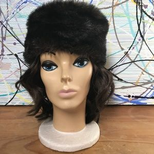 Brown Faux Fur hat Birthday cake shape One Size